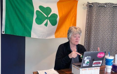 For business teacher Ms. Jean Kesterson, her Irish flag made the trip from her classroom to her home after the campus was shut down on March 12.