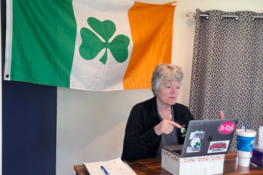For+business+teacher+Ms.+Jean+Kesterson%2C+her+Irish+flag+made+the+trip+from+her+classroom+to+her+home+after+the+campus+was+shut+down+on+March+12.+