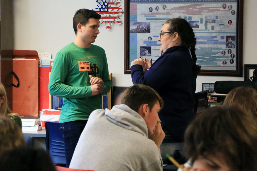 In her classroom on the second floor of Kelly Hall, social studies teacher Mrs. Jill Twilleager visits with former student Stephen Vukovits '17.