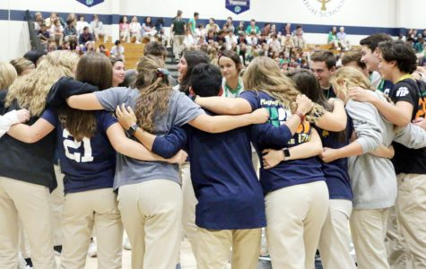 Members of the Student Council gather on the court at last year's welcome assembly.