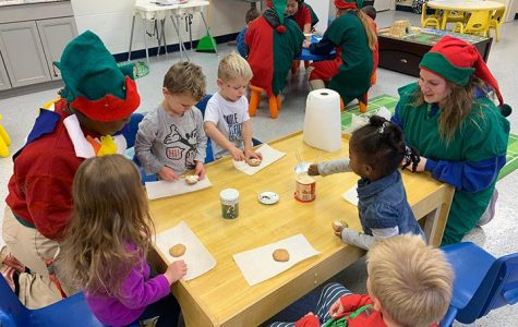 Last year as part of its community service, members of the National Honor Society visited the Irish Blessings daycare rooms in Cunningham. Due to Covid-19 concerns, activities such as this during the current school year will not be possible. Cathedran file photo.
