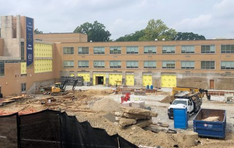 Work continues in what used to be the courtyard on the building of the new Innovation Center, which will provide facilities that include math and science classrooms and labs.