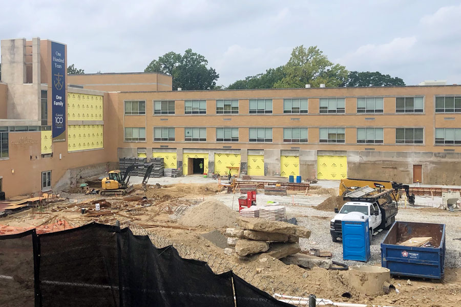 Work+continues+in+what+used+to+be+the+courtyard+on+the+building+of+the+new+Innovation+Center%2C+which+will+provide+facilities+that+include+math+and+science+classrooms+and+labs.+