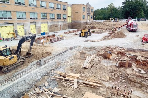 Construction continues on the new Innovation Center, which will be the venue for the spirit shop and bookstore.