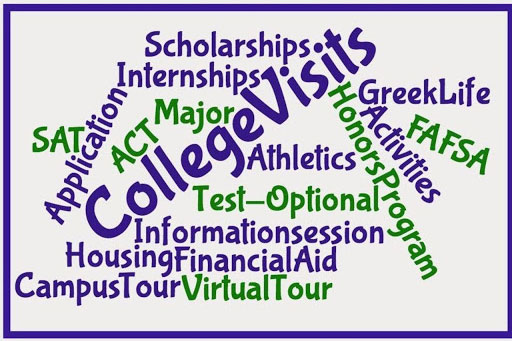 This poster in the counseling center provides a list of many of the potential issues students encounter when applying for college.