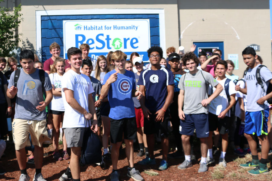 Students line up after working at a Habitat for Humanity facility during last year's spring break.