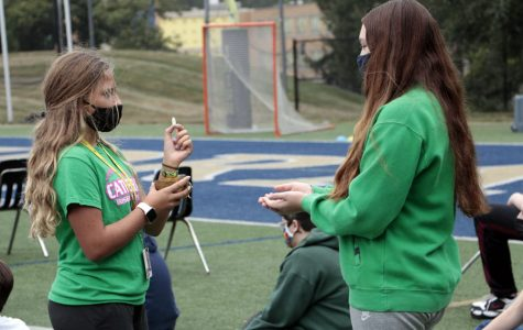 The freshmen, sophomores and juniors gathered for Mass on the football field on Sept. 11.