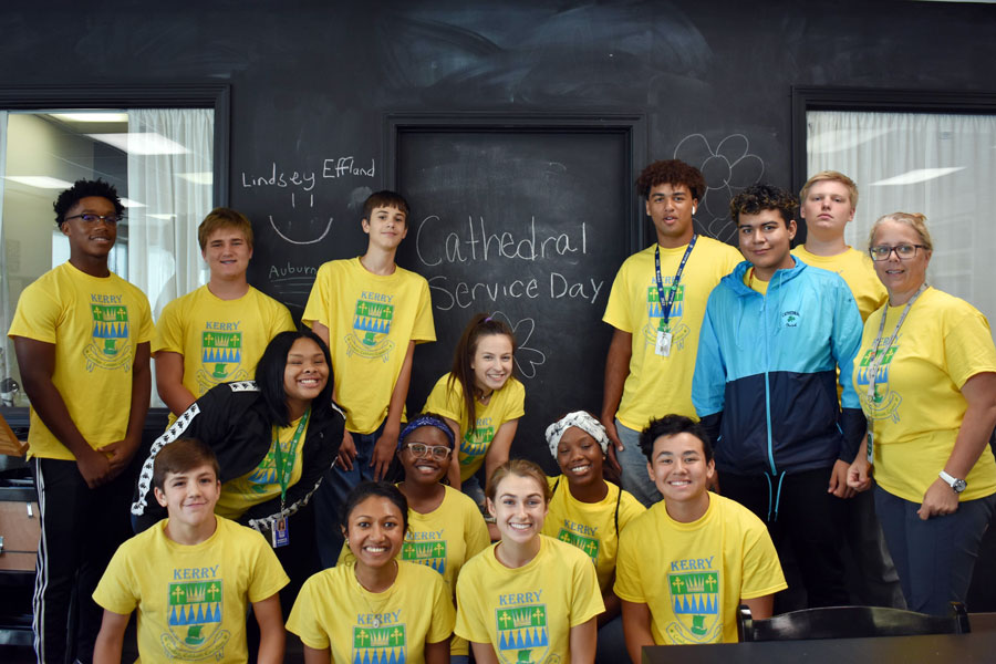 Students participating in the school's annual day of service last September.