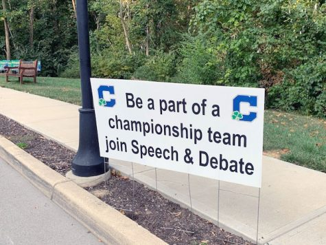 A sign on the Hill promotes the award-winning speech and debate team.