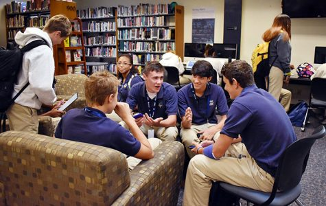 Scenes like this from last year, with students gathering in a group before school in the library, are now a thing of the past. This space is now occupied by Sr. Mary Ann Stewart's social studies classes.