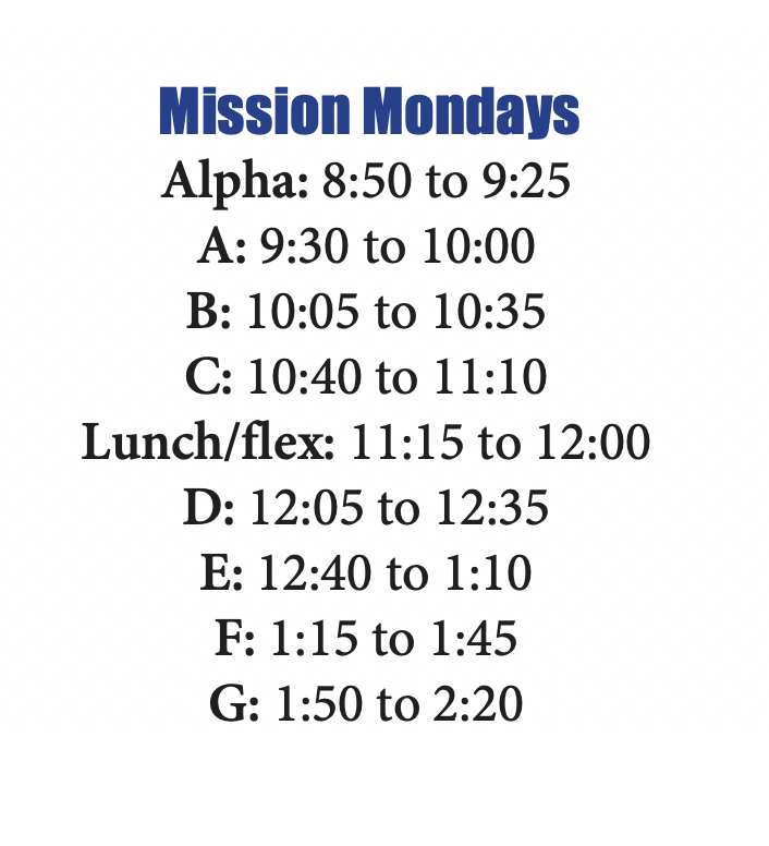 Mission Monday class schedule for Oct. 26