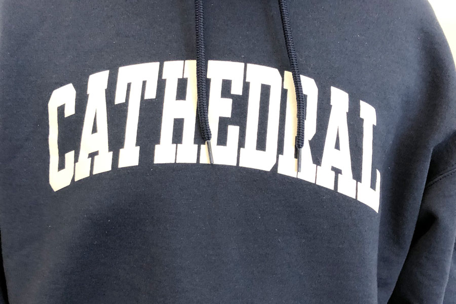 Cathedral sweatshirts will be among the items available at the Mothers Club uniform sale on Nov. 15.