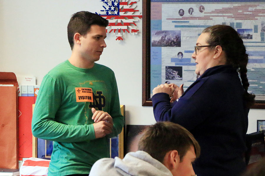 Social studies teacher Mrs. Jill Twilleager talks to former We the People team member Stephen Vukovits during one of his post-graduation visits to campus. Twilleager explained the Electoral College and why the person who receives the most votes for President is not necessarily the candidate who takes office.