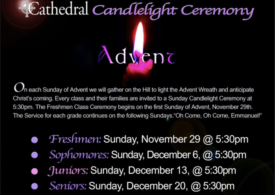 Candlelight Advent services are taking place on campus on selected Sundays at 5:30 p.m.