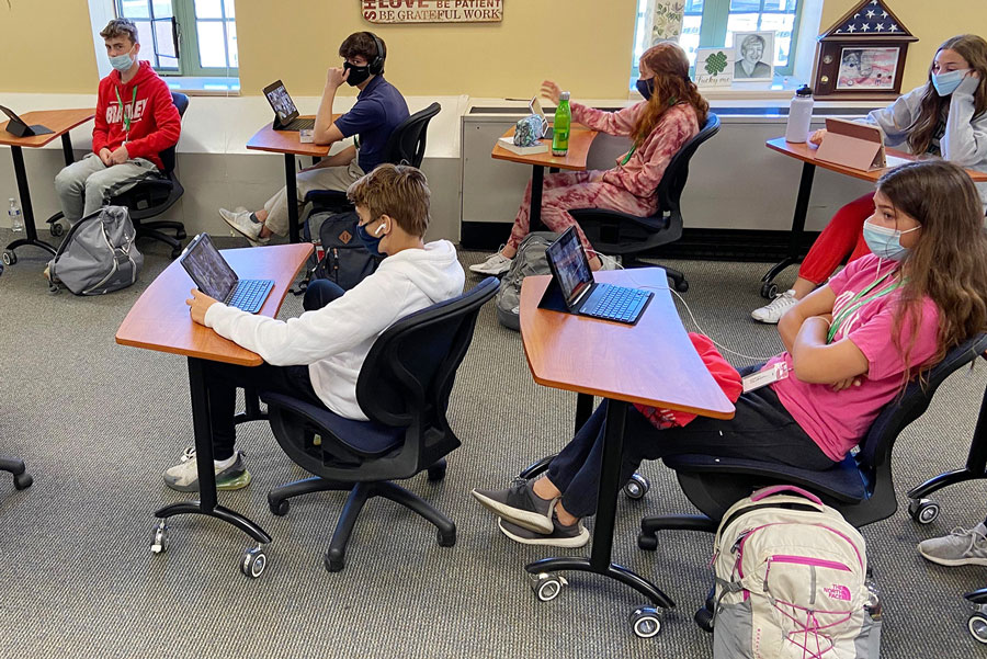 Students in one of Mrs. Melina Bundy's English classes in Loretto prepare for their next assignment. That preparation will not include studying for first semester finals, as the administration has canceled those exams that had been scheduled for Dec. 15 through Dec. 18.
