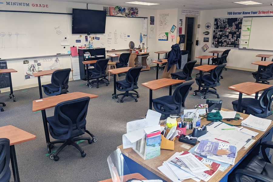 The view from the desk of English teacher Mrs. Nancy Wheeler is that of an empty room.