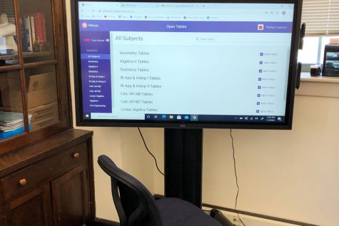 A large monitor in the Learning Commons enhances the tutoring experience.
