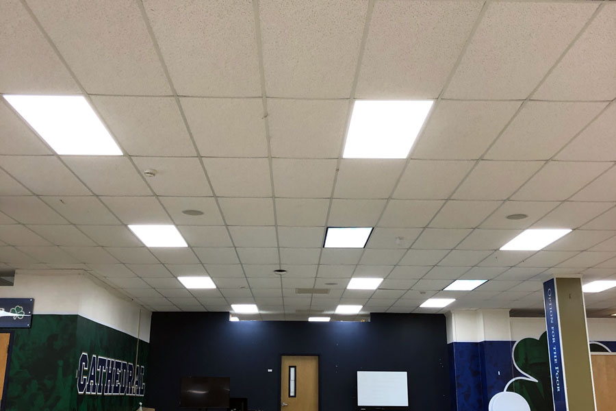 The back of what was the cafeteria last year and is classroom space this year is now illuminated by high efficient LED lights.