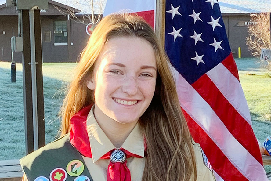 Senior Lauren Dubbink is one of two female members of the Class of 2021 who has been named an Eagle Scout.
