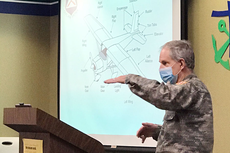 Lt. Col. Tom Elam speaks to members attending a recent meeting of the Civil Air Patrol.