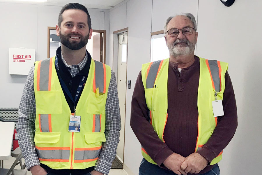 Project manager Mr. Connor Britt and jobsite superintendent Mr. Jerry Feuquay work together to ensure the Innovation Center construction stays on schedule.