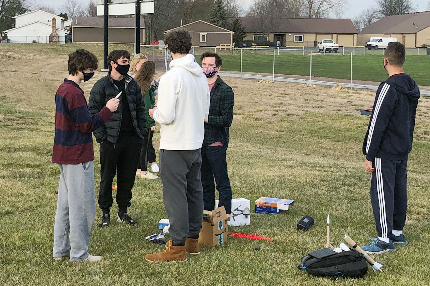 Rocket Club members gather for a meeting earlier this school year in Brunette Park.