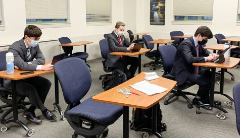 Speech and debate team members got an early start in Loretto Hall during the State meet.