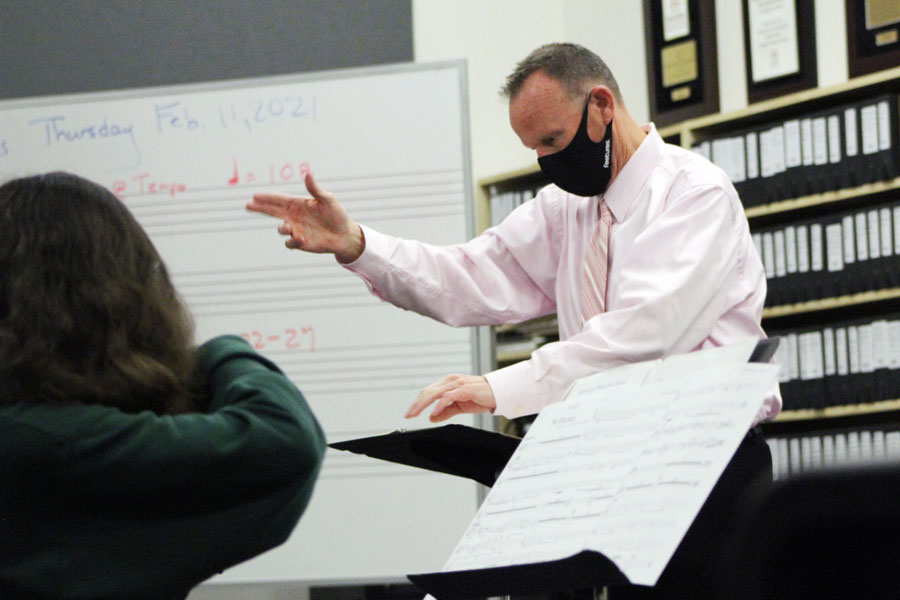 "During alpha period on Feb. 11, Mr. Steve Goodman directs the orchestra, which practices in the basement of Cunningham Hall. Goodman brings a vast range of professional experience as a musician to the Hill to share with his students, who were practicing a piece called ""No Bounds,"" which the group would eventually perform with the jazz band."