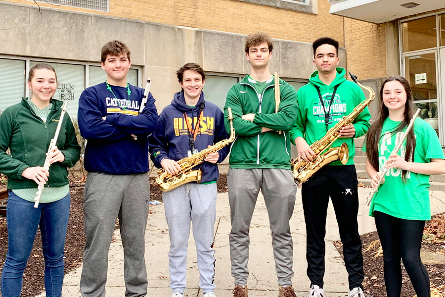 Six members of the marching band earned top honors in the annual state music contest.