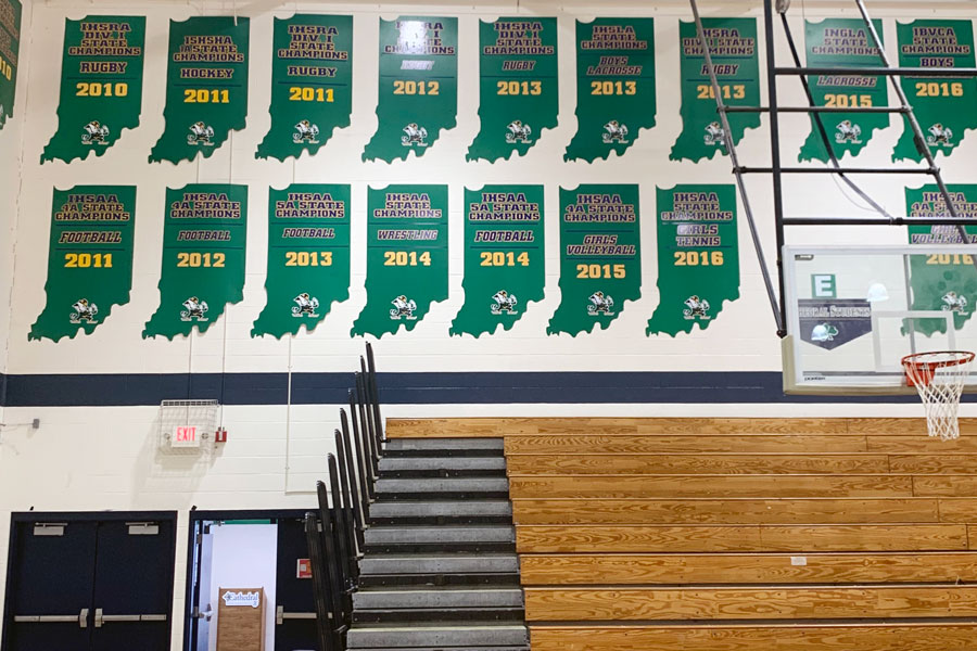 State championship plaques -- but none for conference titles - take up much of the wall space in the Welch Activity Center.