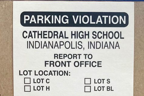 This is an example of a Cathedral High School parking ticket issued to students who violate parking guidelines.