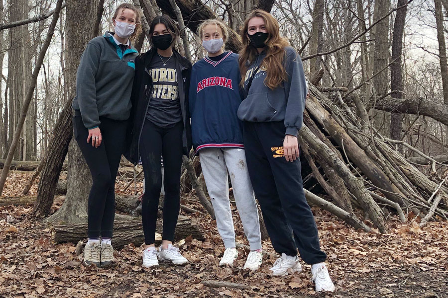 A few members of the Hiking Club gather after an outing earlier this school year.