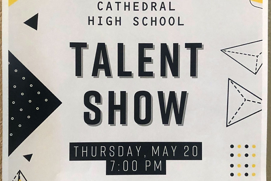 Posters around the school promote the May 20 talent show.