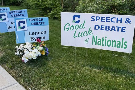 To honor his memory, flowers have been placed at the speech and debate sign of junior Lendon Byram.