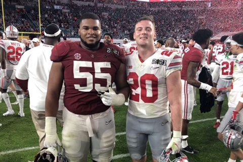 Pete Werner '17, right, has reported to rookie camp for the New Orleans Saint.