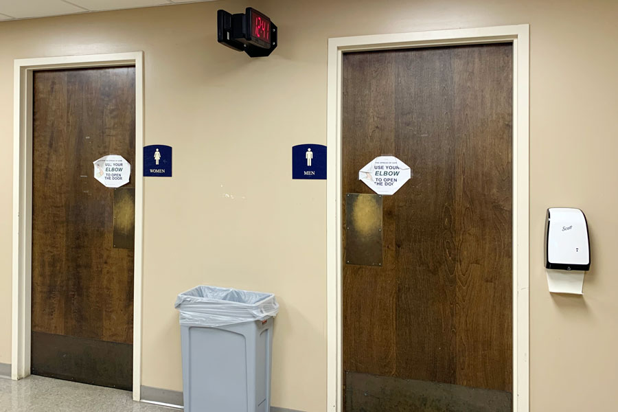 The bathrooms on the second floor of Loretto Hall will no longer be a social gathering place.