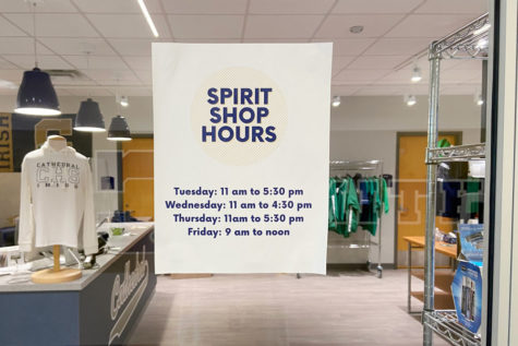 The bookstore/spirit shop hours are posted on the door of the facility.