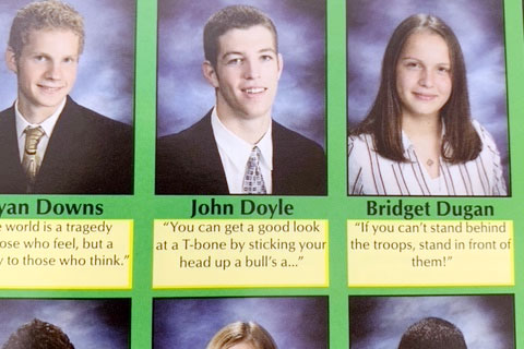 John Jack Doyles senior picture and quote in the 2008 Cathedran yearbook.