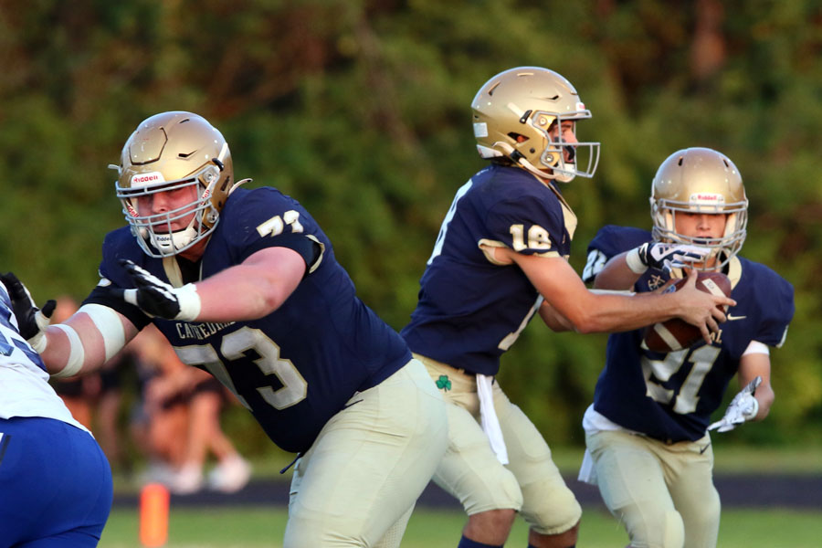 The+varsity+football+team%2C+in+action+earlier+this+season+against+Bishop+Chatard%2C+will+host+Hammond+Morton+in+the+Homecoming+game+on+Sept.+24.+