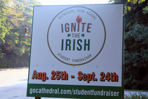 A sign at the bottom of the Hill promotes the Ignite the Irish fundraiser.