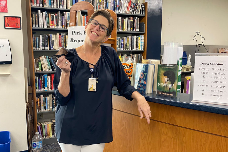 Mrs. Jennifer Herron can now welcome students back to the library this year.