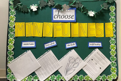 A sign out the office of Mrs. Aly Weaver '12 provides students with mindfulness strategies.