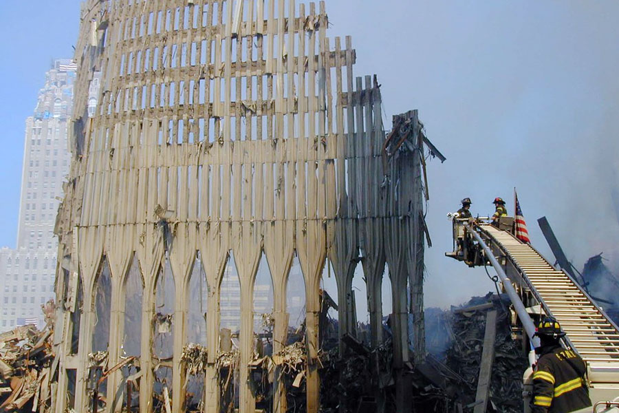 Firefighters at the World Trade Center after both towers collapsed on Sept. 11, 2001.