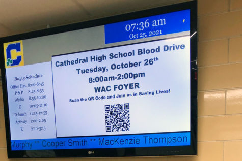 One of the screens in Kelly Hall displays information about the blood drive on Oct. 26.