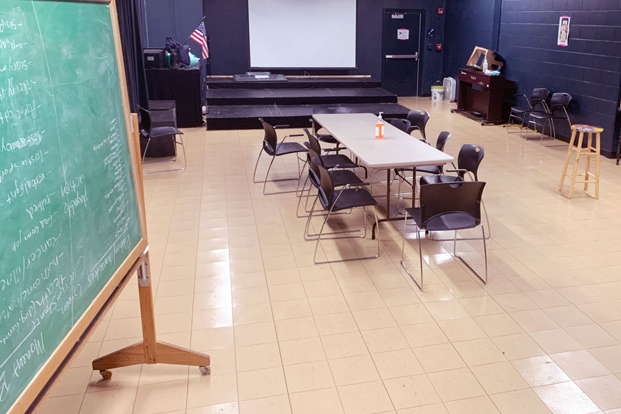 The theaters green room serves as the site for weekly Spinprov practice sessions.